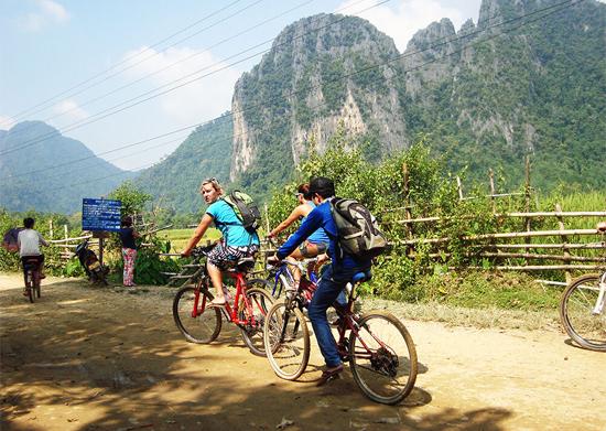 Biking in Vanvieng Laos